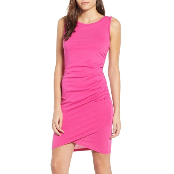 6ec4c0c5f79 nordstrom leith ruched body-con pink berry dress